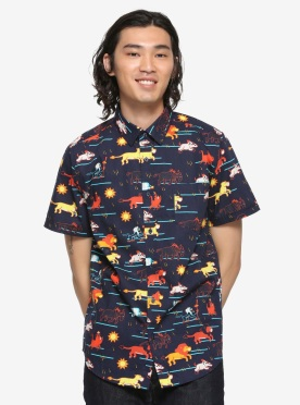 Disney The Lion King Pride Lands Art Woven Button-Up (2)